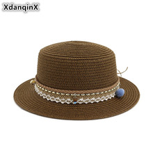 XdanqinX Elegant Adult Womens Straw Hat Oversized Visor Breathable Sun Hats 2019 New Flower Decoration Beach For Women