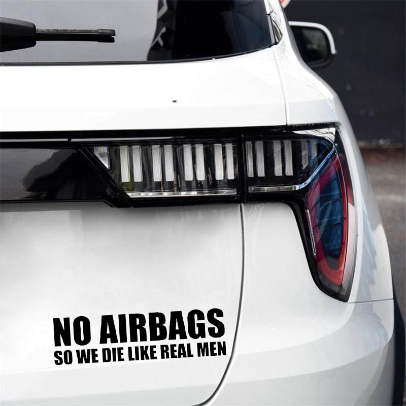 YJZT 16.5CM*4.5CM NO AIRBAGS SO WE DIE LIKE REAL MEN Creative Vinyl Car Sticker Decals Black/Silver C11-0675