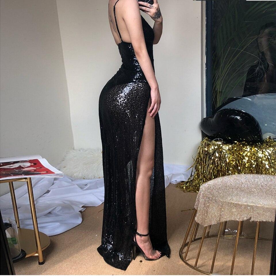 0c56ea21c819f US $22.81 39% OFF JillPeri Luxury Women Long Dress Deep V Neck High Waist  Party Dress Solid Leg Open Sleeveless Celebrate Wear Sequin Maxi Dress-in  ...