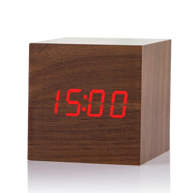 2017 Akoestische Controle Alarm Hout cube Klok LED Kalender Creatieve  Thermometer Elektronische display Slaapkamer Student tafel horloge kit in  2017 ...