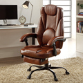 Modern Leather Big & Tall Executive Office Chair With Wheel/Footrest Racing Ergonomic Leather Recliner Office Chair Brown Color