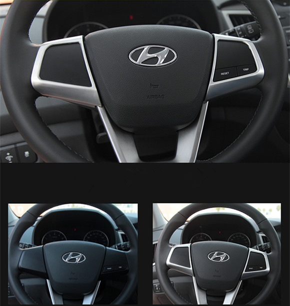 Keao For creta hyundai ix25 Steering wheel decoration buttons cover trim interior mouldings styling ABS Accessories