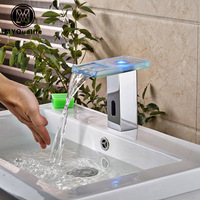 LED Automatic inflared Sensor Faucet for Bathroom Sink water saving Free touchless Inductive electric Water Tap mixer