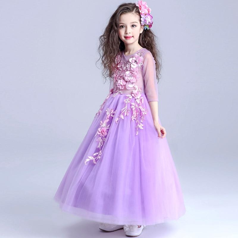 Новинка; фиолетовое торжественное платье с цветочным узором для свадебной вечеринки; нарядные платья для маленьких девочек; праздничные пл