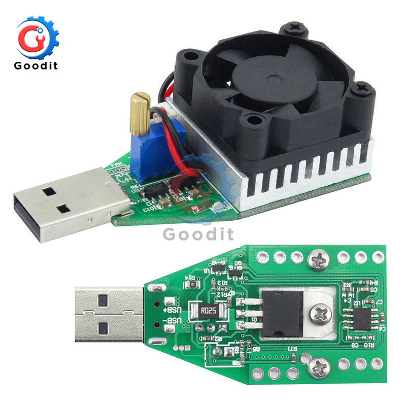 15W DC 3V-21V Electronic Test Load resistor USB Interface Battery Discharge Capacity Tester with Fan Adjustable Current Module