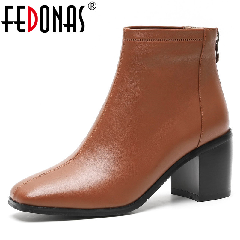 FEDONAS New Women Basic Boots Genuine Leather High Heels Zipper Office Pumps Ladies Square Toe Short Martin Shoes Woman Pumps clips more платье до колена