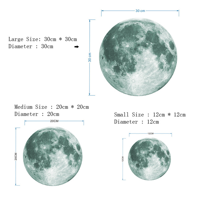 30cm Luminous Moon 3D Wall Sticker for kids room living room bedroom decoration home decals Glow in the dark Wall Stickers 2
