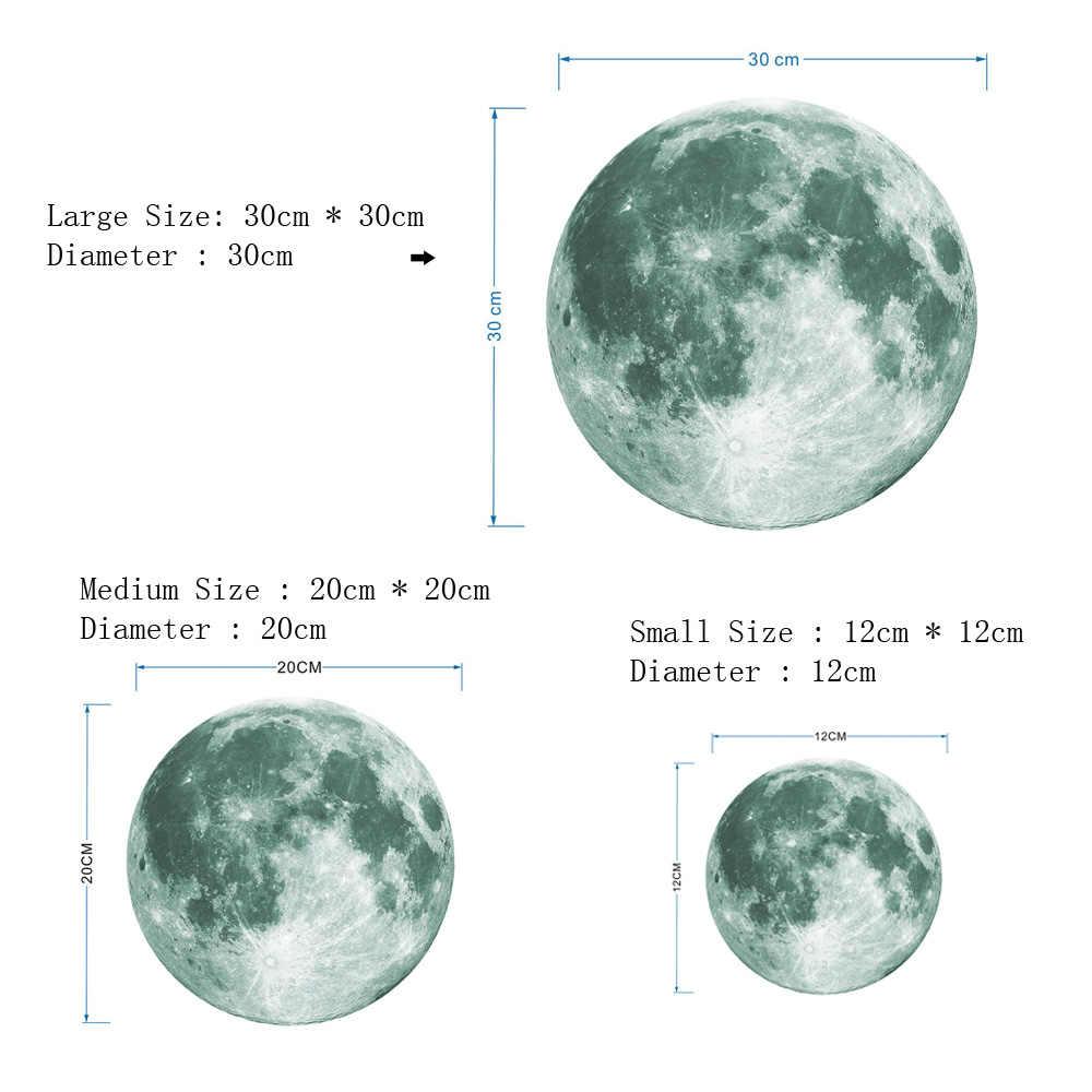 30 cm זוהר ירח 3D קיר מדבקת חדר ילדים סלון חדר שינה קישוט בית מדבקות זוהר בחושך קיר מדבקות