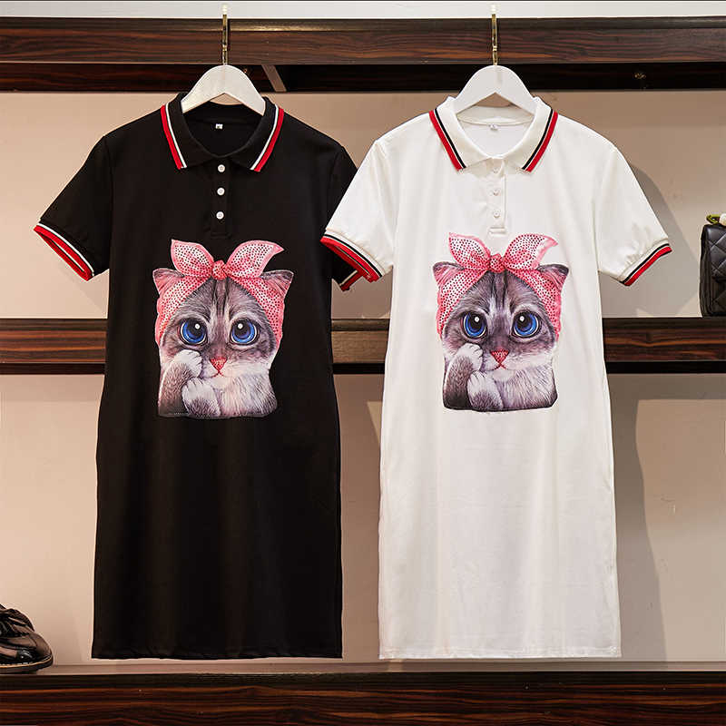 2019 summer casual polo neck contrast beading cartoon cat dress women bow print sweet mini dress vestidos mujer DR118