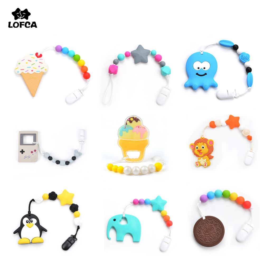 Baby Teethers Animal Pacifier Clips Chain For Baby Gameboy Pendant Nipple Holder Baby Teething Toys BPA Free Biscuit Chew Beads(China)