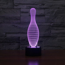 7 Color Change LED Table Lamp Xmas Toy Gift 3D Bowling Shape Night Light table decor color change best gift led night light