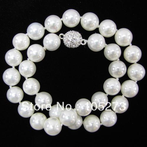 Gros Shell Bijoux 12 MM Arc-En-Mer Blanche Shell Perle Perles Rondes Collier 18 ''Blanc Boule de Cristal Aimant Fermoir Bateau libre
