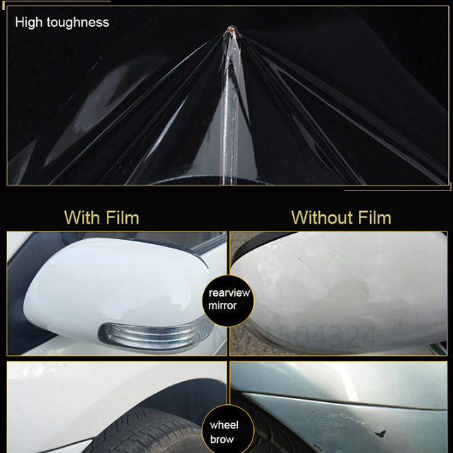 10/20/30/40/50x100cm Rhino Skin Protective Film Car Bumper Hood Paint Protection Sticker Anti Scratch Clear Transparence Film 4