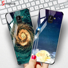Soaptree Tempered Glass Case For Samsung Galaxy A8 A6 Plus 2018 Cases Stars Space Cover On for Bumper Coque