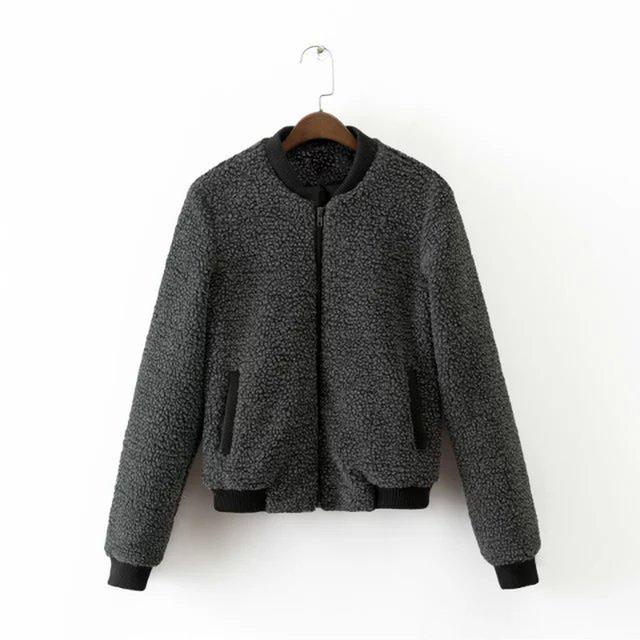 2016 otoño y el invierno nueva lana de cordero de la vendimia bombardero chaqueta de cremallera de manga larga chaqueta de las mujeres