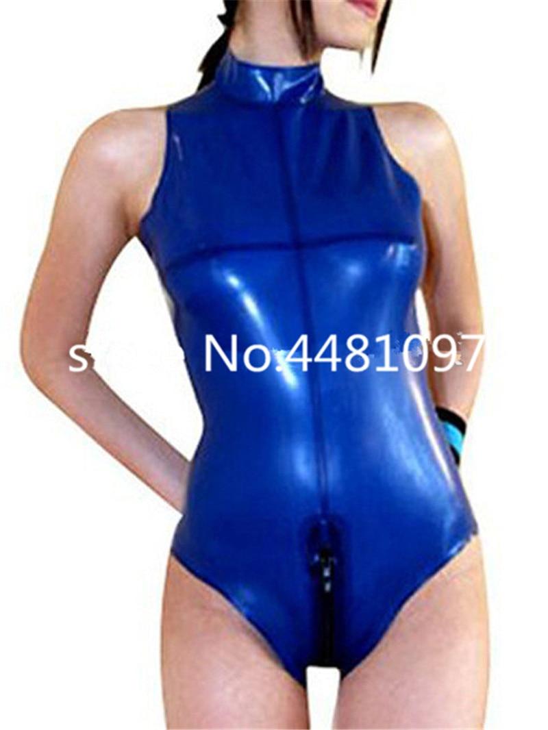 Nature Latex Females Catsuit Sleeveless High Collar Latex Swimsuit Rubber Unitard Zentai Bodysuit for Girls lingerie bodysuit(China)