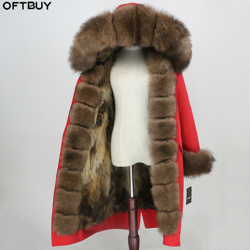 OFTBUY Winter Jacket Women Real Fur Coat X-long Parka Waterproof Outerwear Natural Fox Fur Collar Hood Fox Fur Liner Detachable