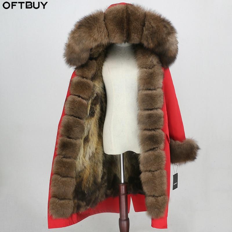 OFTBUY الشتاء سترة النساء الفراء الحقيقي معطف X طويلة سترة لباس خارجي للماء الطبيعي الثعلب الفراء طوق هود الثعلب الفراء بطانة انفصال-في فراء حقيقي من ملابس نسائية على  مجموعة 1