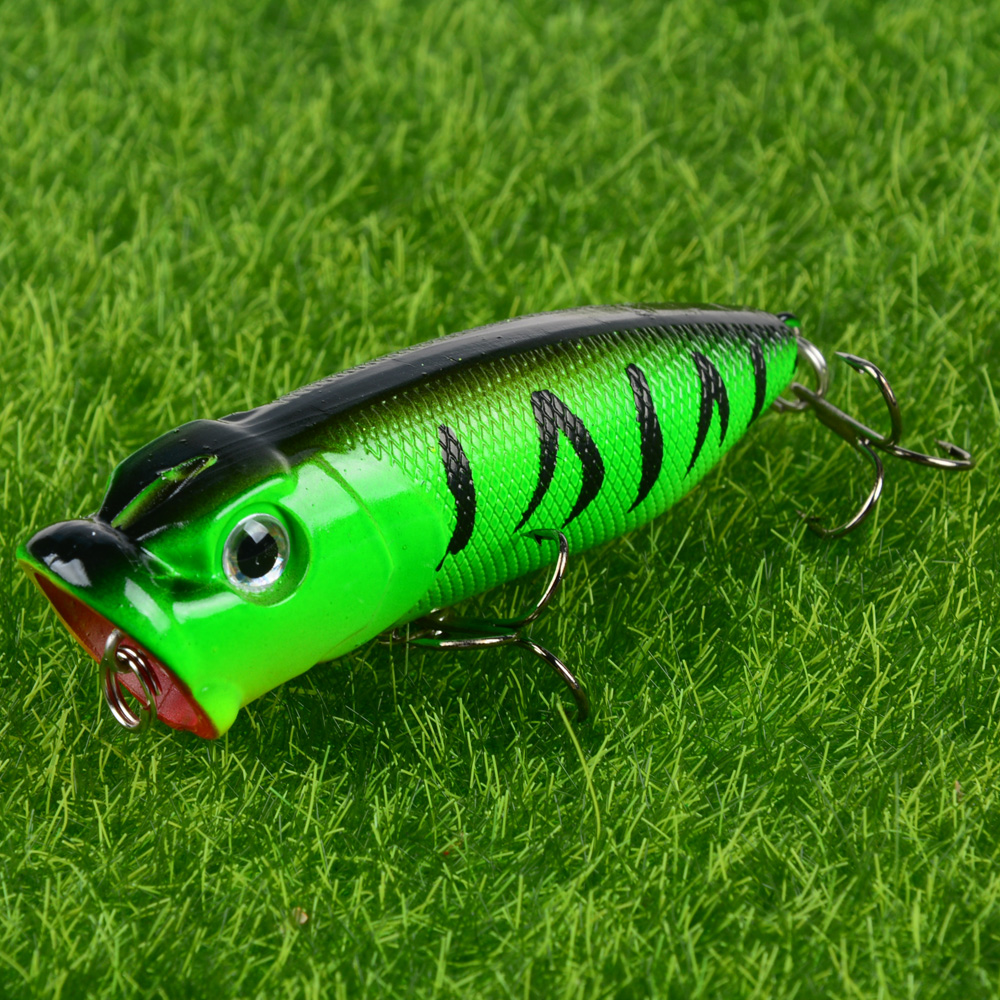 LINGYUE 70mm 12g Popper Fishing Lures High Quality Topwater Hard Bait Plastic Fish Bass Crankbait Wobblers Isca Popper <font><b>H002</b></font> image