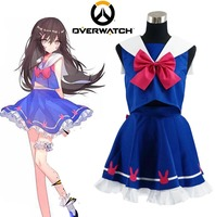 2017 Game Watch And Over Hana Song OW D Va Sailor School Uniform Cosplay Costume Customize