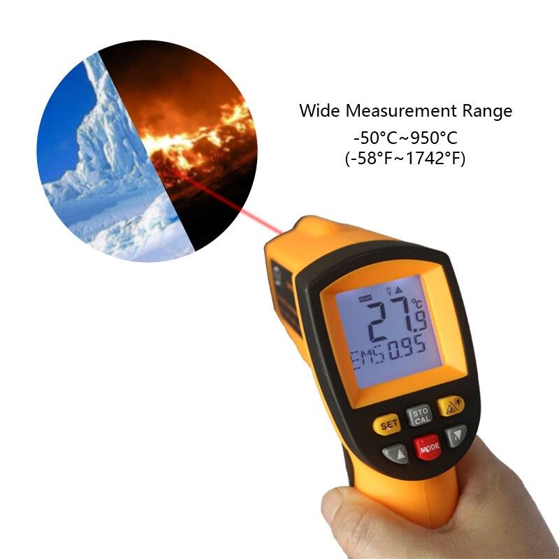 Infravermelho IR Termômetro Digital Medidor de Temperatura-50 GM900 ~ 950C-58 ~ Pyrometer 0.1 ~ 1EM 1742F Celsius termometro infravermelho