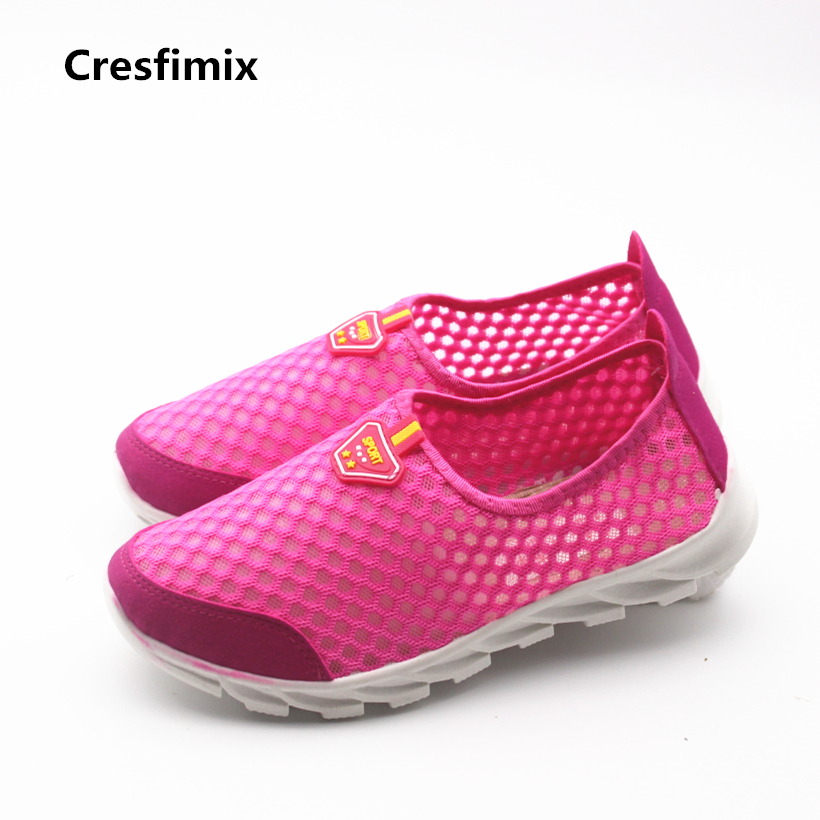 Cresfimix baskets femmes women fashion mesh air breathable flat shoes female anti skid pink summer flats lady comfortable shoes instantarts fashion women flats cute cartoon dental equipment pattern pink sneakers woman breathable comfortable mesh flat shoes