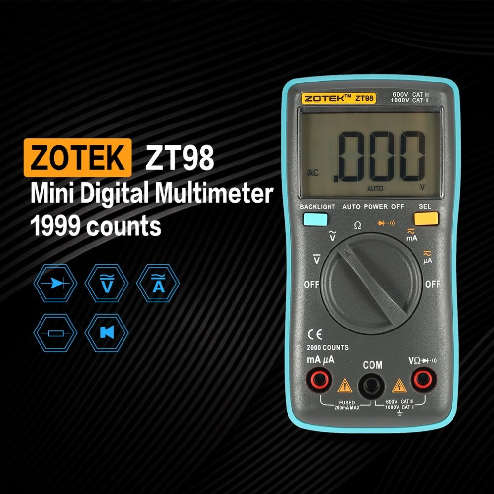 ZOTEK ZT98 Mini Auto Range Digital Multimeter 1999 counts AC/DC Ammeter Voltmeter 550V Overload Protection LCD Backlight Meter