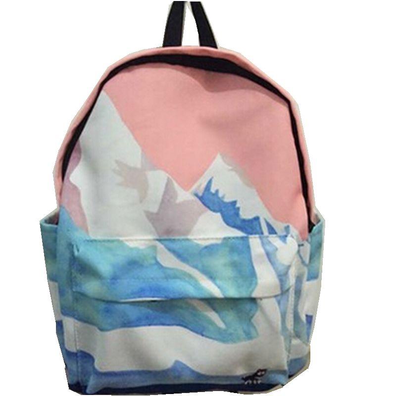 Women Canvas Backpack Fashion Rucksack School Shoulder Bag Landscape Harajuku Backpacks Embroidery Sea Snow Aircraft