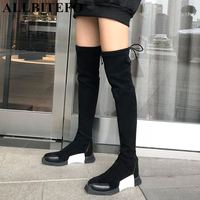 ALLBITEFO fashion soft cow leather +flock flat heel winter snow warm women boots girls over the knee boots thigh high boots