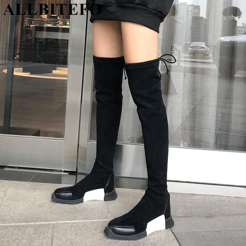 ALLBITEFO mode doux vache en cuir + troupeau talon plat d'hiver de neige chaud femmes bottes filles sur les bottes au genou cuisse haute bottes