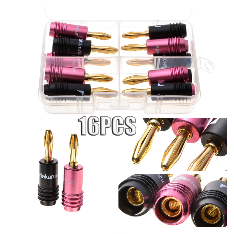 цена 16PCS Banana Plugs Gold Plated Audio Speaker Cable Wire Connectors Set Black Pink For 4mm Cables High Quality Kit онлайн в 2017 году