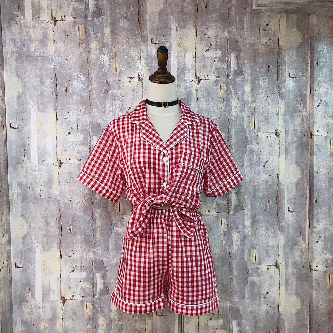 RenYvtil 2018 New Summer Fashion Womens Cotton Linen Pajamas Two Piece Shorts Set Sleepwear Female Plaid Nightwear Home Cloth