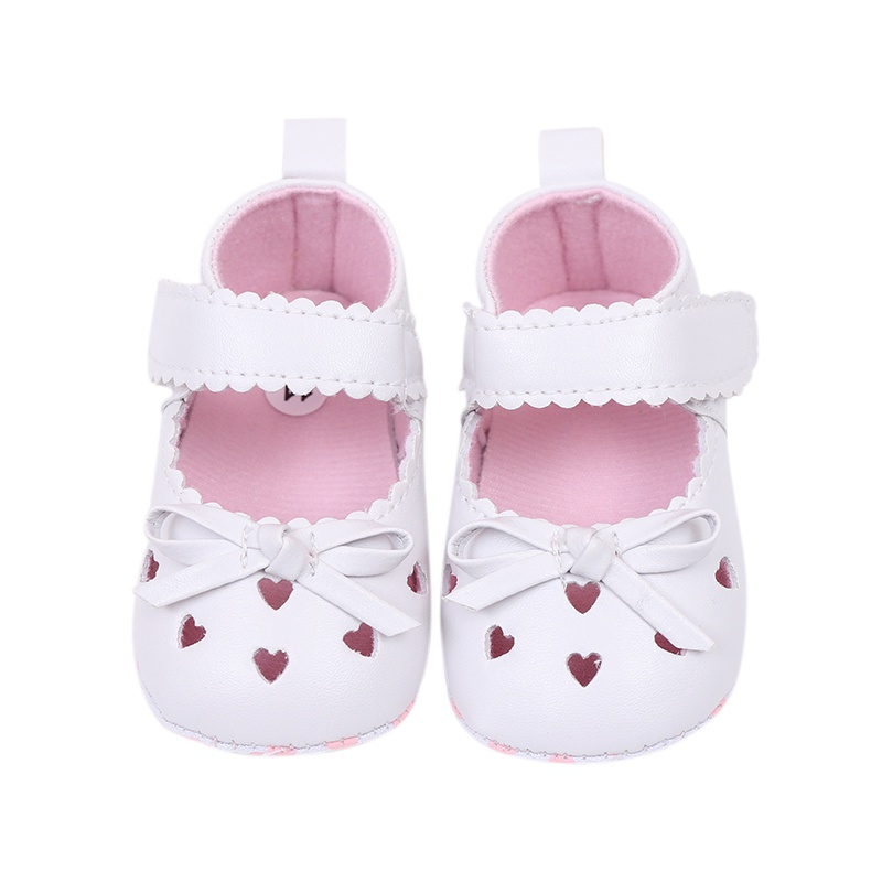 Summer Shoes Baby Girls Princess Shoes PU Leather Bowknot Heart Hollow-out First Walkers