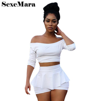 White Outfits Women Two Piece Set 2017 Fall Half Sleeve Off Shoulder Crop Top And Ruffle