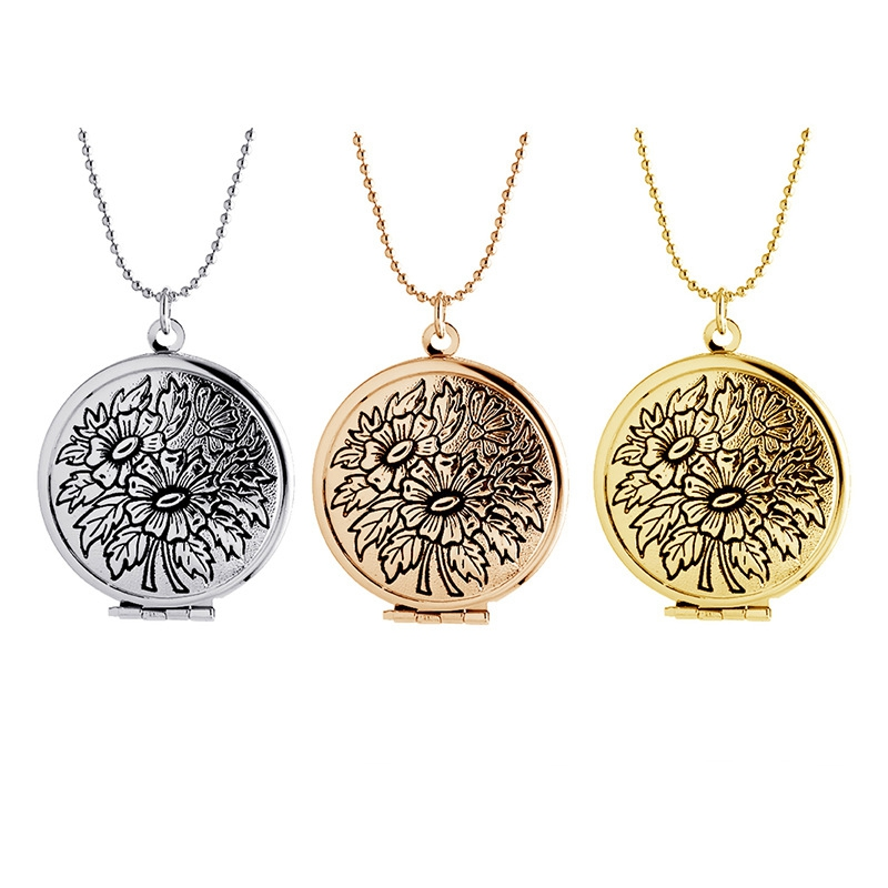 New 3PCS/Lot Openable Vinage Silver Gold Ellipse Flower Floating Locket Necklace For Women Jewelry,Birthday Gift,MDNEN