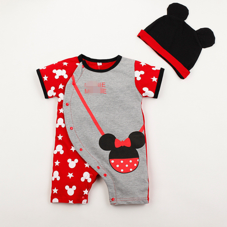 Infant Unisex Short Sleeve   Rompers   Lovely Cartoon Baby Boy Girl Two Pieces Hat Suits Bow Tie Children Clothing Sets Bag Clothes