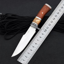 HOT Glun Survival Knife Fixed 5CR13MOV Steel Blade Knife Wood Handle Camping Knives Tactical Hunting Knifes Outdoor EDC Tools e1