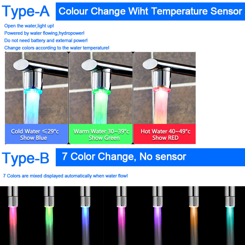 Bathroom Faucets That Light Up led faucet light temperature sensor rgb glow shower water shower