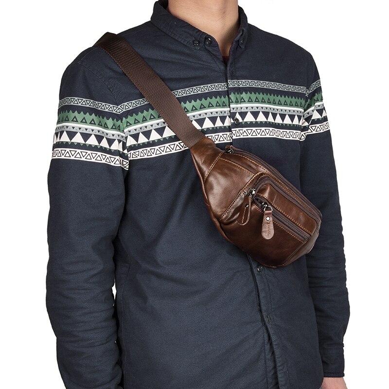 JMD Excellent Genuine Leather Waist Packs Fanny Pack Purse Men Belt Bag 7218C