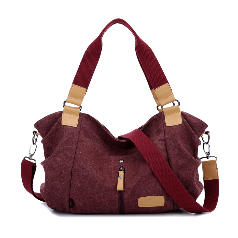 New Women Canvas Shoulder Bags High Quality Zipper-front Travel Shopping Crossbo