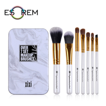 ESOREM 7pcs Slim Makeup Brushes Set With Box Horse Hair Cosmetic Brush Synthetic Loose Powder Shader Pinceau Maquillage GJ-08