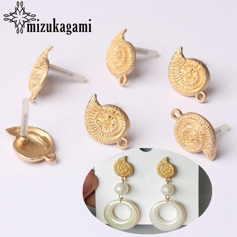 6pcs/lot Zinc Alloy Golden Conch Earrings Base Connectors Linker DIY Bohemia Beach Earrings Jewelry Making Accessories