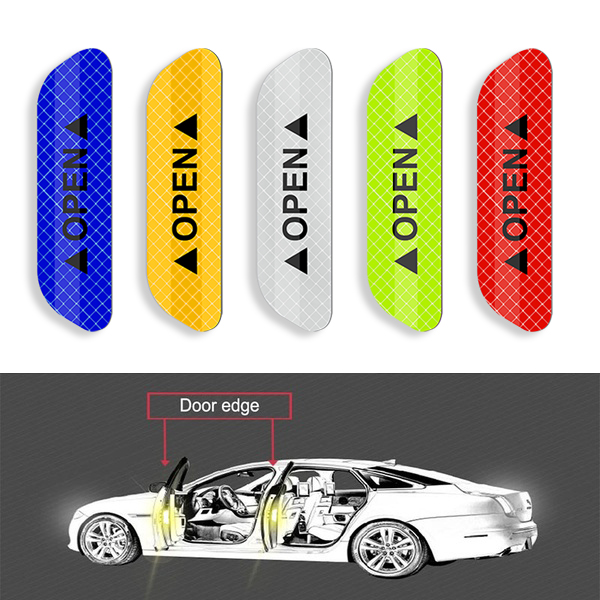 4Pcs Car Door Stickers Warning Mark Reflective Tape Auto Exterior Accessories OPEN Sign Safety Reflective Strip Light Reflector