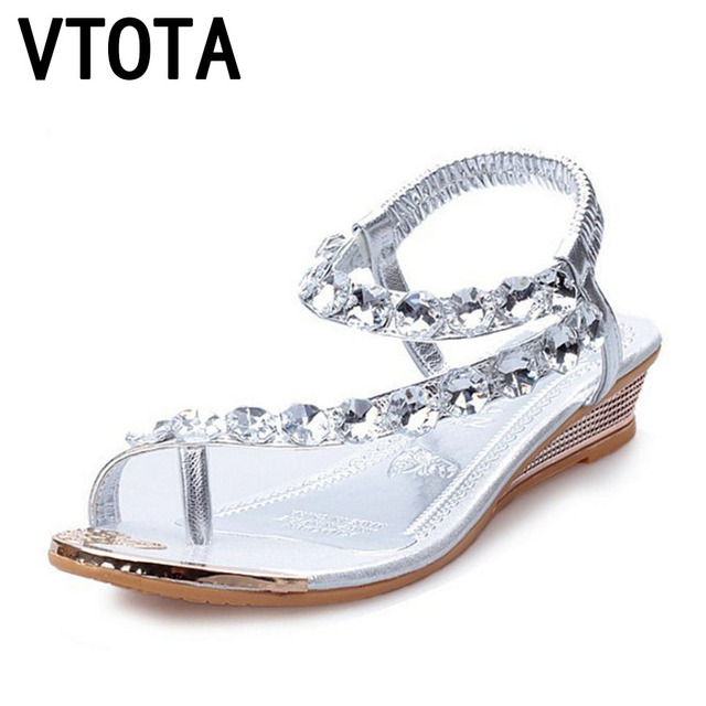 49d144d5bd353 VTOTA Sandals Women Bohemia Beach Shoes 2018 Summer Open Toes Wedges Shoes  Crystal Women Sandals Sandalia Mujer Ladies Shoes G64
