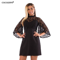 2017 Winter Women Dress Elegant Sexy Lace Dresses 6XL Flare Sleeve Evening Party Dress Female Large