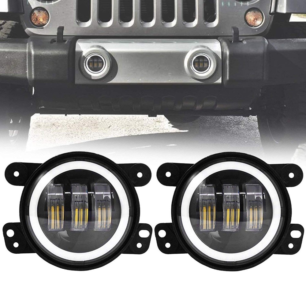 4 inch 30W LED Spot Fog Lamps Auxiliary Light With white DRL Light Passing Light For Jeep Wrangler JK CJ TJ-in Car Light Assembly from Automobiles & Motorcycles    1