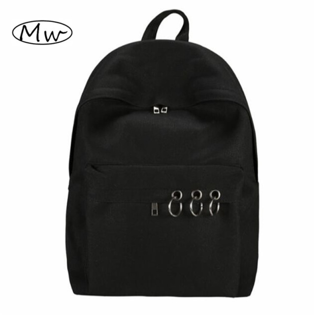 Harajuku Style Black Backpack Unisex Solid Canvas Backpack School Bags For Teenagers Couple Backpack Casual Travel Bag Mochila