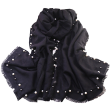 Новинка 2017 года Pearl шарфы для женщин осень длинные жемчужные украшения шарф имитация кашемира Женская зимняя обувь толстые теплые Wrap платки T26