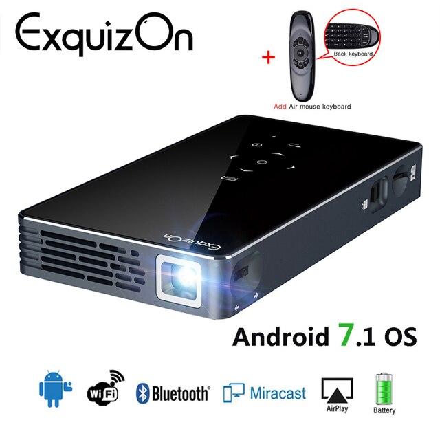 6679ba062db162 Exquizon P8I DLP mini projector Android 7.1 OS 1GB+8GB Bluetooth 4.0 WIFI  Pocket HD