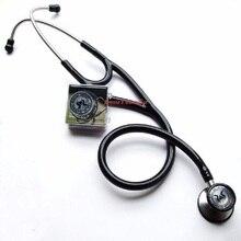 Çift kafa stethophone paslanmaz kardiyoloji stetoskop tıbbi klinik doktor echometer yetişkin ve çocuk için + kulak tıkacı aksesuarları